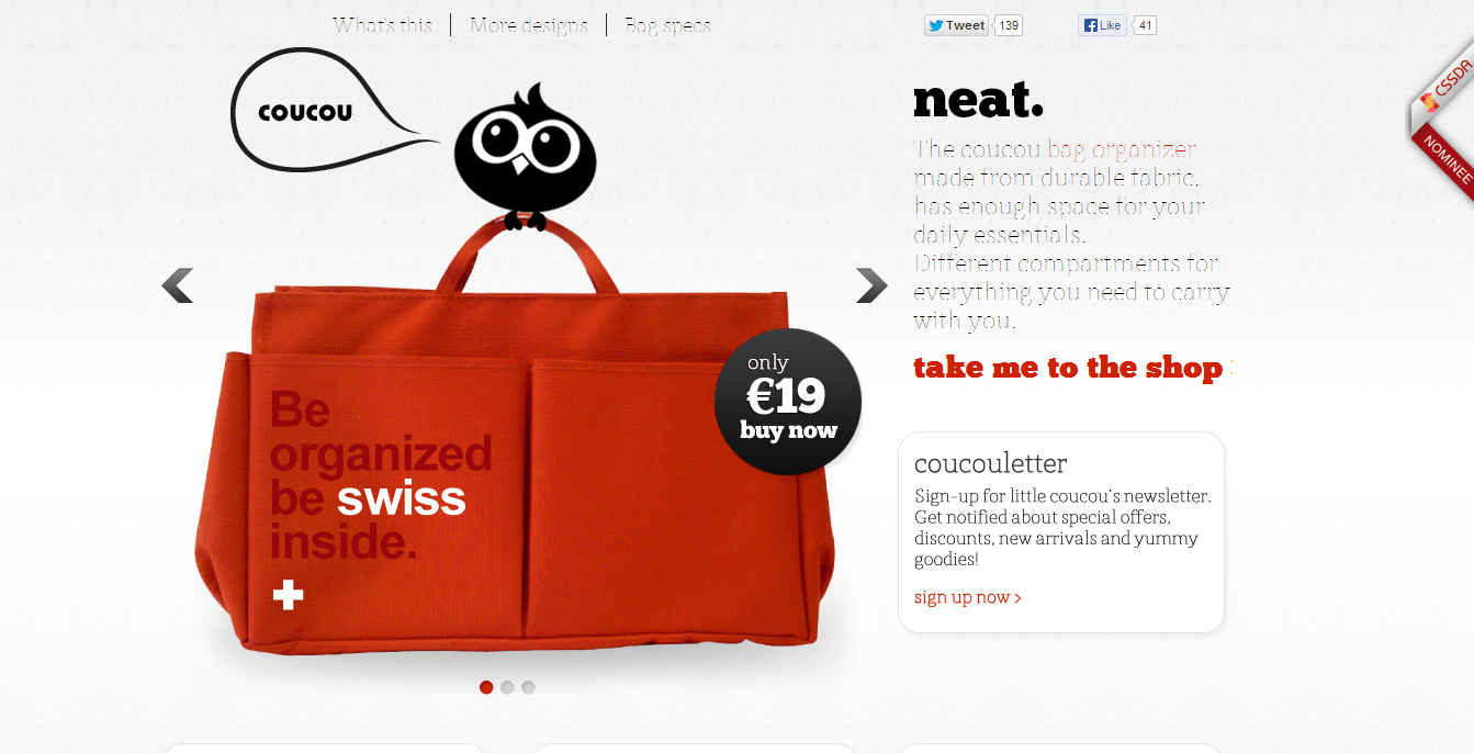 A well designed product site with a single page app