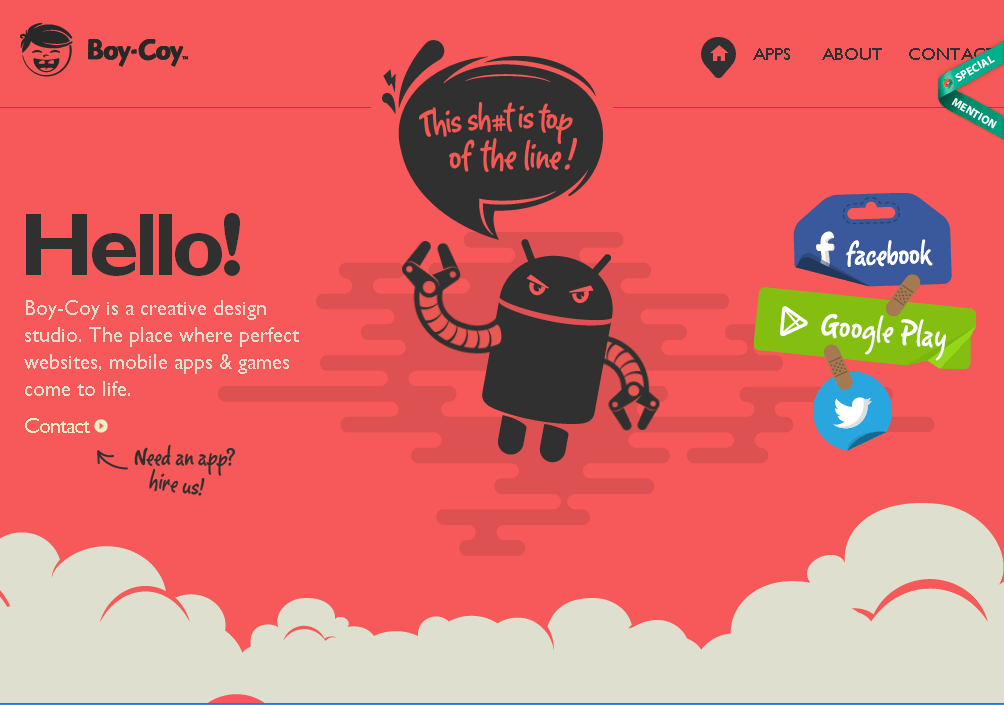 Boy Coy - a creative design based studio uses parallax scrolling for their portfolio