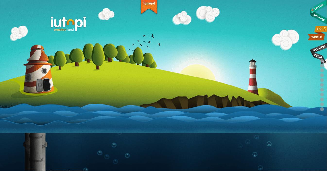 iutopi – graphic design based agency uses parallax scrolling in their portfolio