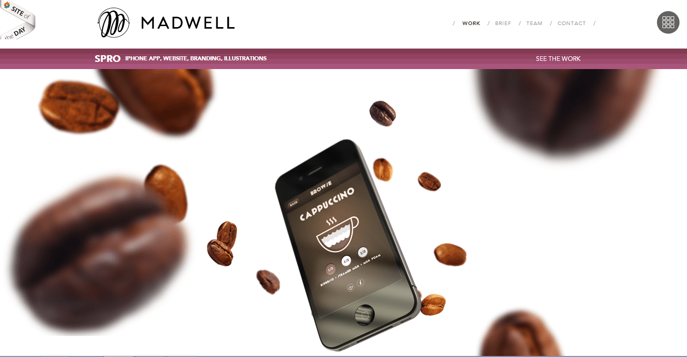 Madwell - a Brooklyn based creative agency uses parallax effect for their portfolio