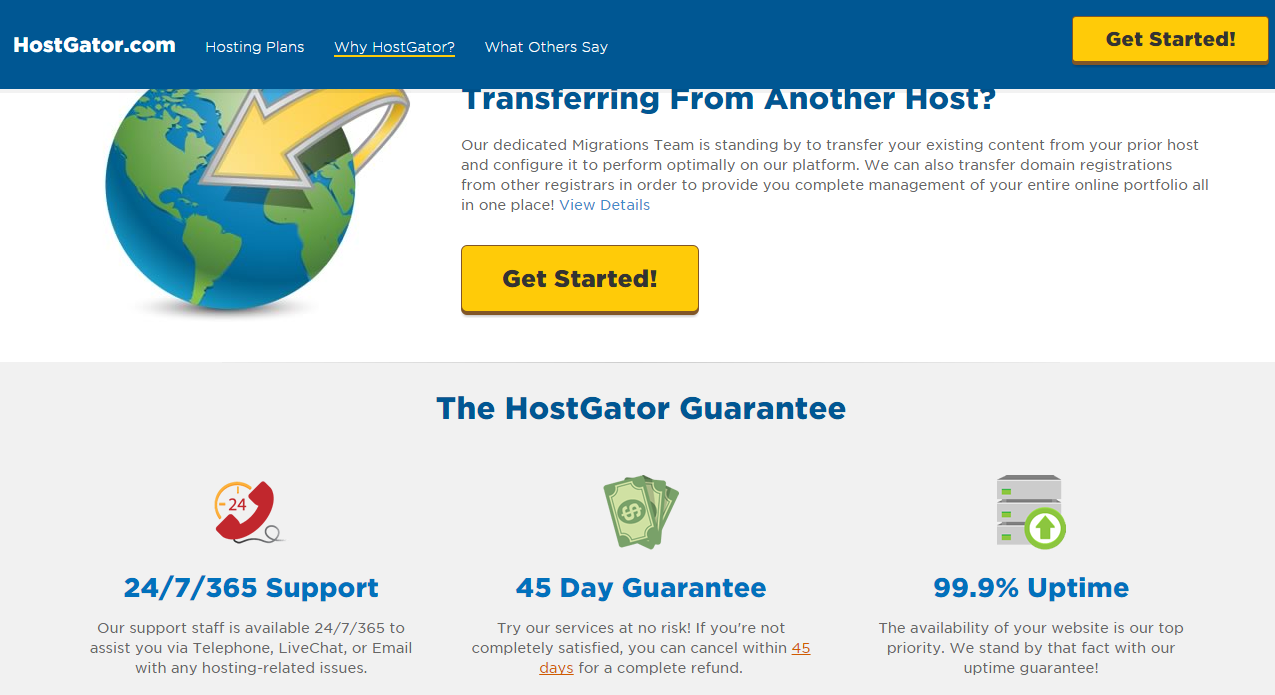 Hostgator featuring support