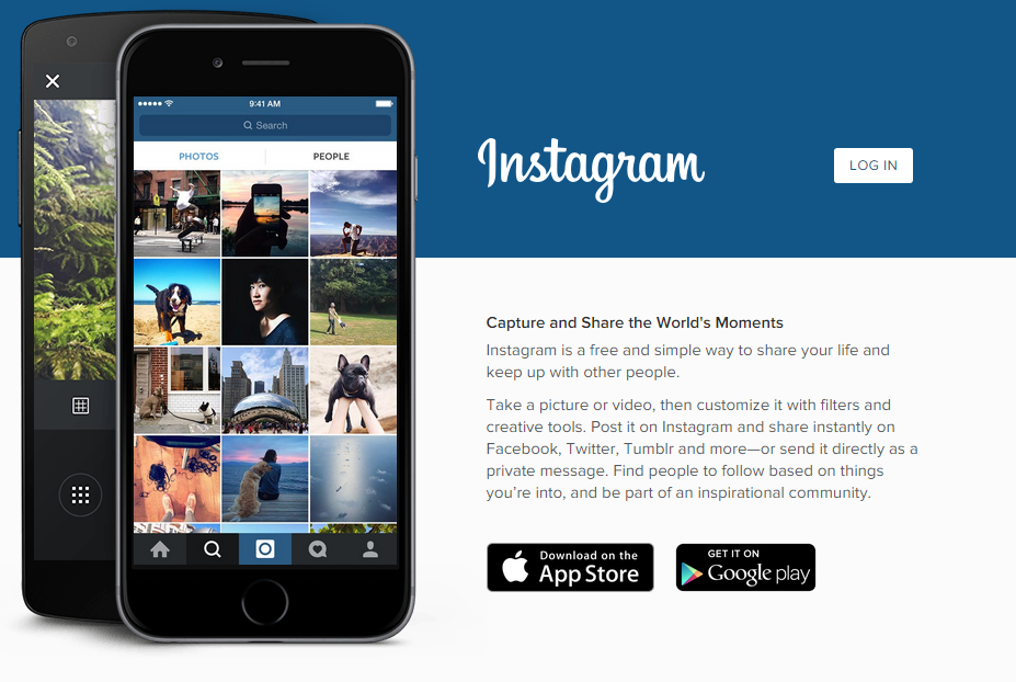 Instagram homepage (website) snapshot