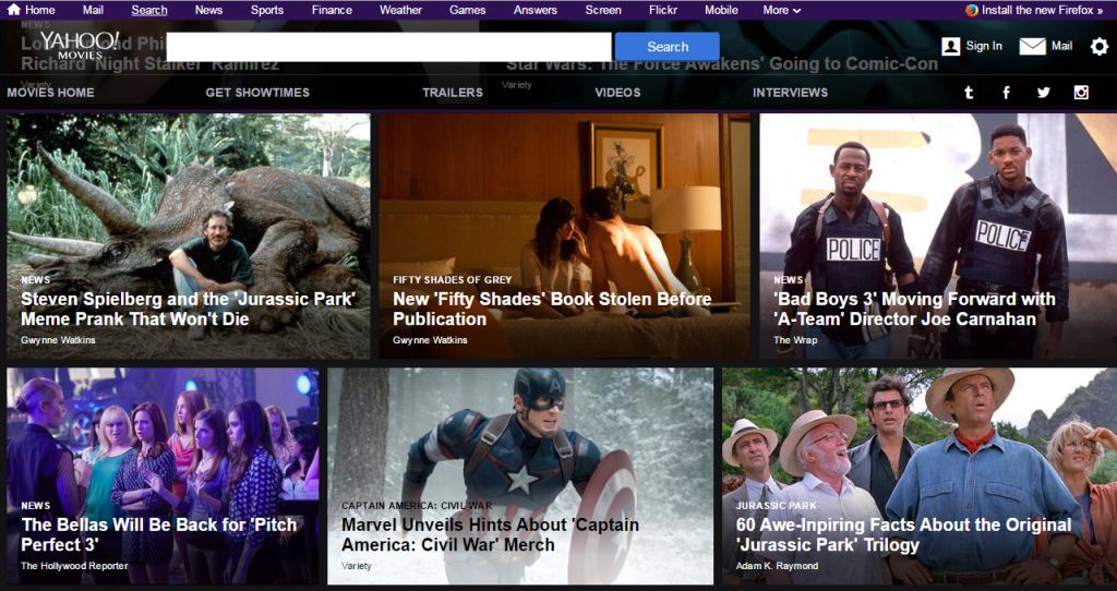 Yahoo movies homepage design